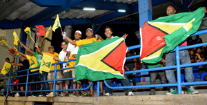 Guyanese fans celebrating at Queen's Park Oval, Trinidad