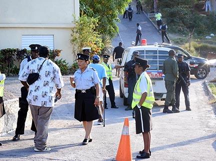 Police constrain pedestrian