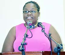 Hon. Delmaude Ryan, Minister of Education gave feature address