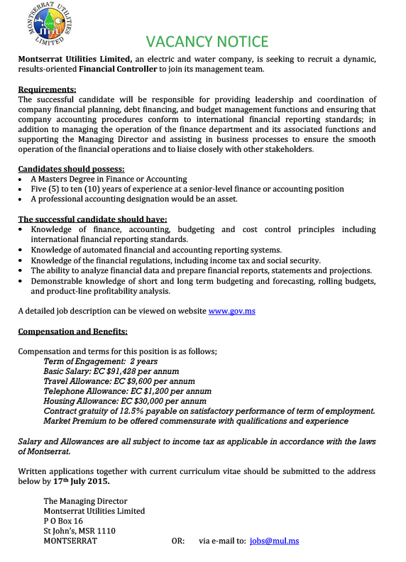 Financial Controller Job Advert
