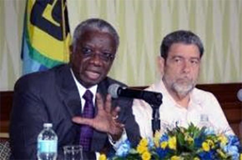 Prime Minister Fruendel Stuart and  Prime Minister Dr Ralph Gonsalves