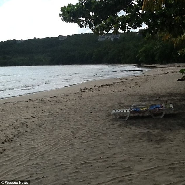 Lounge chair on beach - woman allegedly rested on