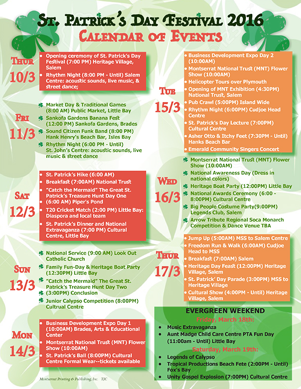 Calendar Of Events : St patrick s day festival calendar of events the