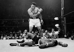 muhammad ali over - knocks out Sonny Liston