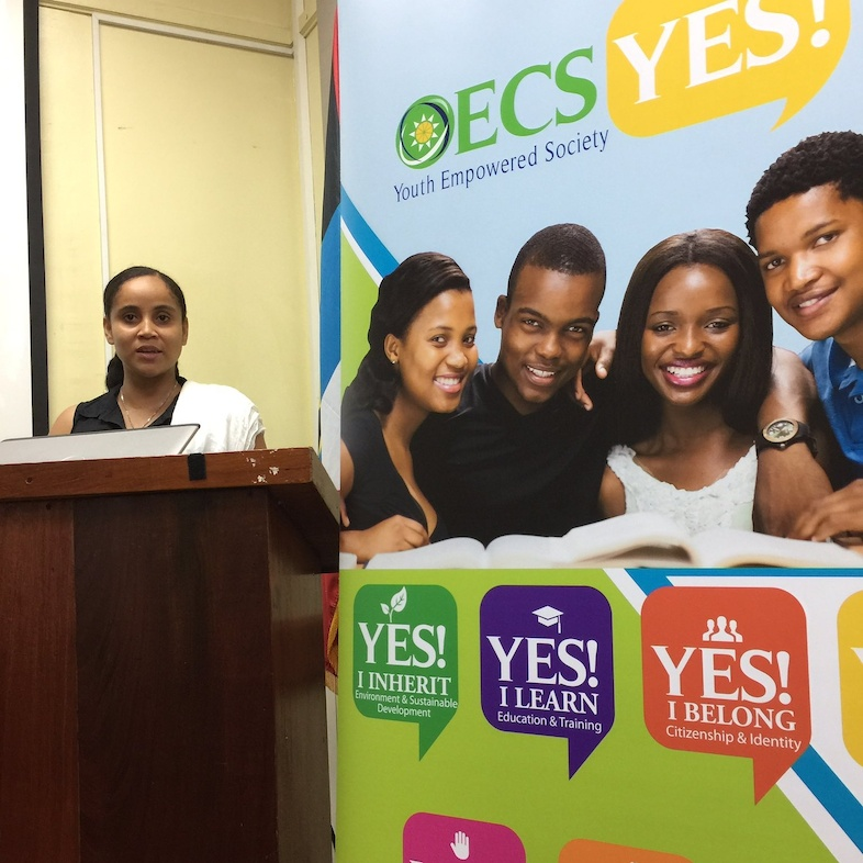 OECS Social Development Research Officer, Yoshabel Durand, addresses the audience