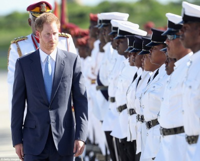 Prince Harry inspecting Guard of Honour in Antigua