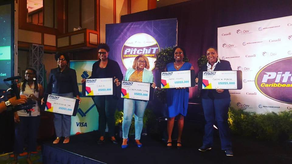 The top five winners in PitchIT were women. Nerissa - second rt.(PitchIT Caribbean photo)