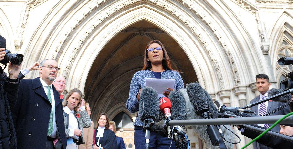 Guyana-born Gina Miller addressing the media