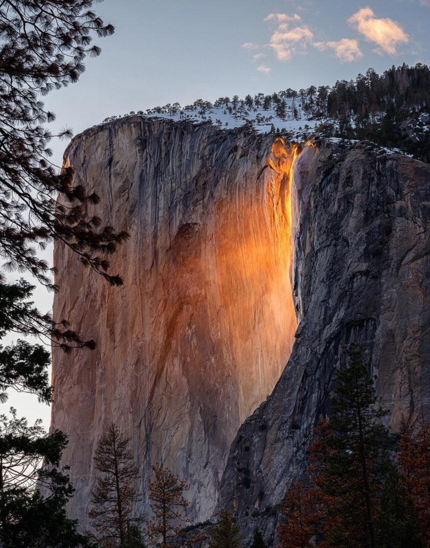The firefall at Yosemite National Park in California is a waterfall in disguise