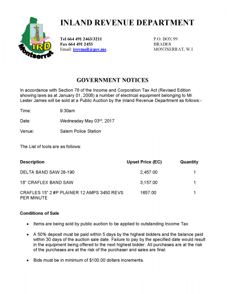 Auction Sale- Government Notice