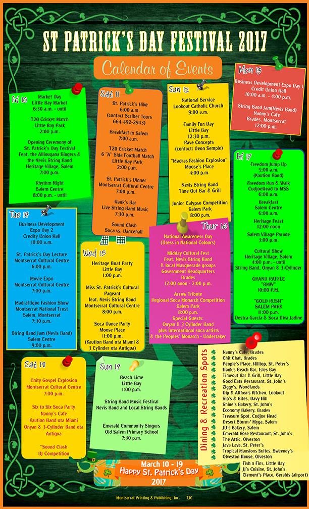 St patrick calendar 2017