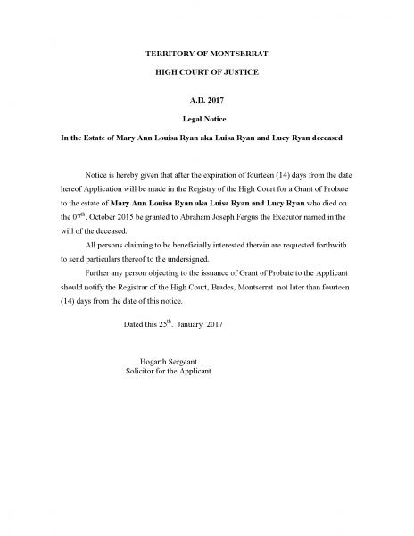 legal notice - Mary Ann Louisa Ryan