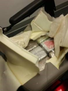 Cocaine found inside back seat cushion of wheelchair