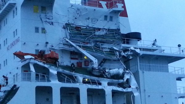The Seafrontier suffered a hole above the water line and damage to the superstructure