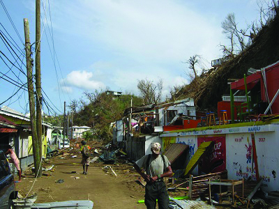 One if the devastated areas iof Dominica- Newtown