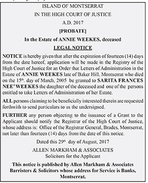 Legal Notice - Notice of Application for Prescriptive Title