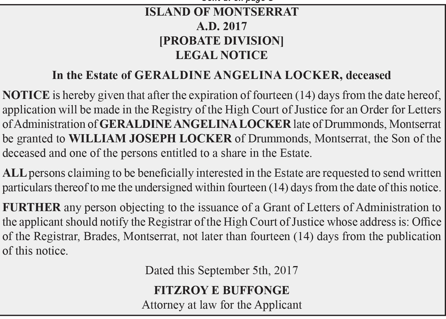 Legal Notice - In the Estate of Geraldine Angelina Locker, deceased