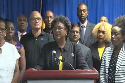 Prime Minister Mia Mottley, addressing Barbadians following meeting with Social Partnerships