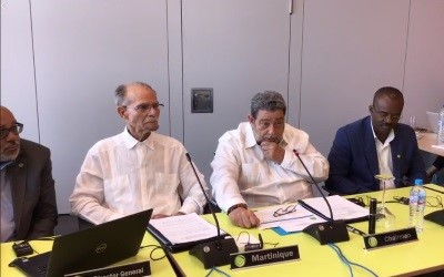 PM Gonsalves at news Conf Guadeloupe