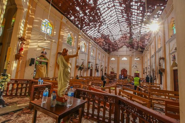 A view of St. Sebastian's Church, damaged in a blast in Negombo, north of Colombo, Sri Lanka, on Sunday (Chamila Karunarathne - AP)