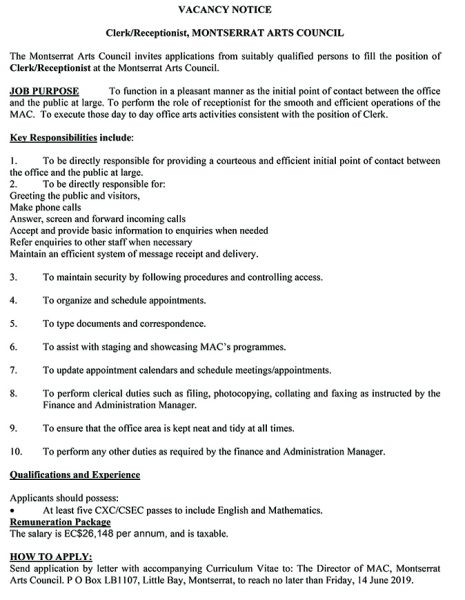 AD - MAC - Vacancy Notice Clerk Receptionist