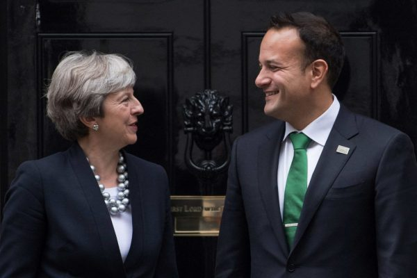 Prime Minister Theresa May greets Ireland's Taoiseach Leo Varadkar in Downing Street (Photo Getty Images)