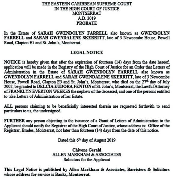 Gerald - Legal Notice Estate Sarah Gwlendolyn Farrell (Allen Markham)2