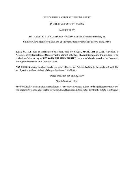Markham - Legal NOTICE - Estate of Claudina Hussey