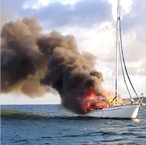 Boat on Fire in Montserrat waters
