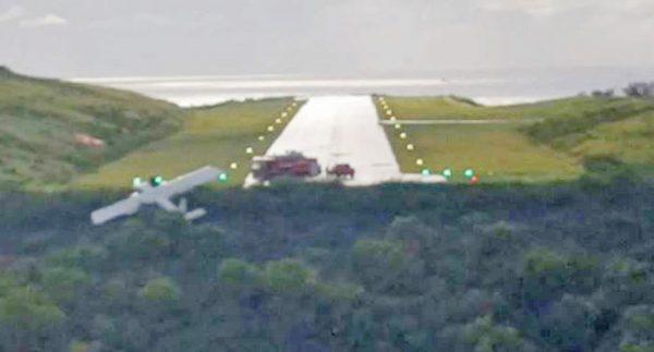 FlyMontserrat aircraft resting spot after rolling off the runway Sept 23 2019